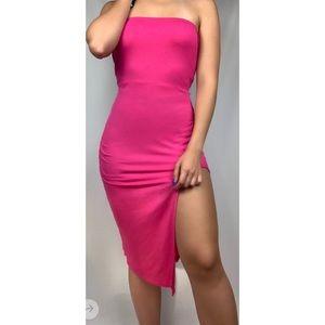 PrettyLittleThing Strapless Slit Bandeau Dress